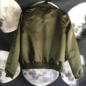 Justify Jackets & Coats - Justify Size Medium Olive Bomber Jacket w/ Patches